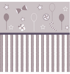 Cute girlish frame with balloons bows gift button vector