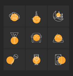 Dates candle mosque glass bus dish lollypop vector