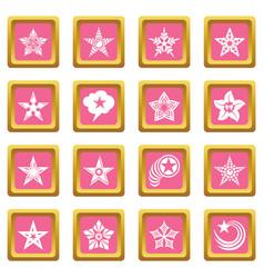 decorative stars icons set pink square vector image