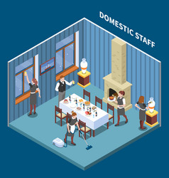 domestic staff isometric composition vector image