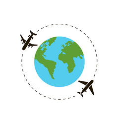 earth and airplane around world vector image