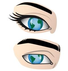 Earth in human eye vector