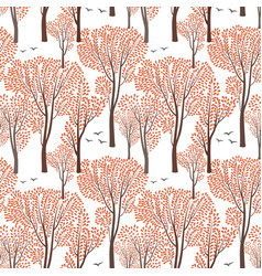 Fall nature seamless pattern autumn trees forest vector