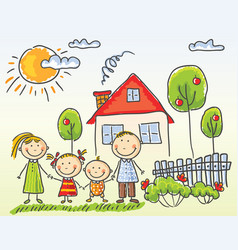 family near their house vector image