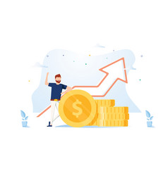 financial consultant leaning on a stack coins vector image