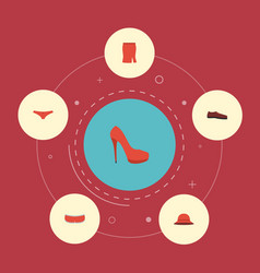 flat icons apparel shorts heeled shoe and other vector image
