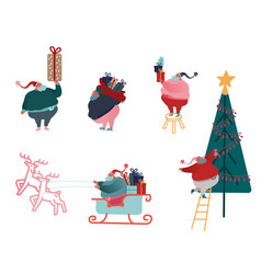 funny christmas santa claus in flat style set of vector image