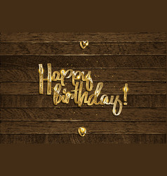 Golden happy birthday inscription vector