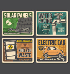 Green energy water saving electric car posters vector