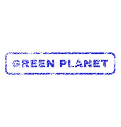 green planet rubber stamp vector image