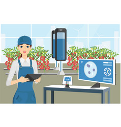 Growing plants in the greenhouse vector