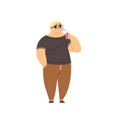 Handsome overweight man drinking soft drink fat vector