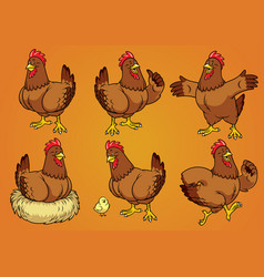 hen with cartoon style set vector image