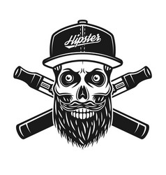 hipster skull and crossed electronic cigarettes vector image