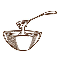 Honey in bowl with spoon isolated sketch vector