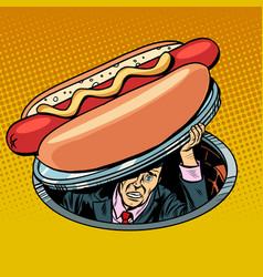 hot dog man under fast food vector image