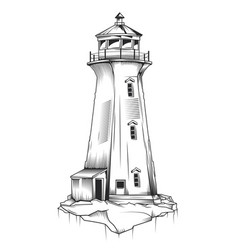 isolated of old lighthouse vector image