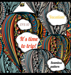 Its time to trip air balloon with hippie style vector