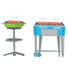 Kettle barbecue grill and barbecue gas grill vector image