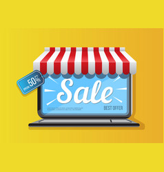 Laptop icon with sale promotion vector