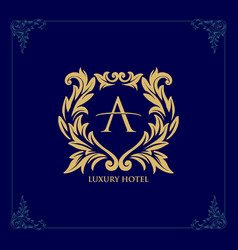 logo luxury hotel template golden line icon vector image