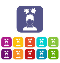 Man with puzzles over head icons set vector