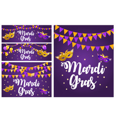 Mardi gras brochure collection set templat vector