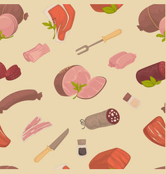 meat product butchery shop sausage and ham vector image
