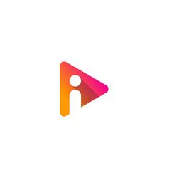 media letter i logo icon design vector image