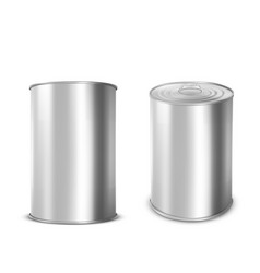 metal tin can for food with ring pull on lid vector image