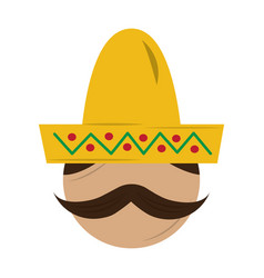 mexican man face with hat and mustache portrait vector image