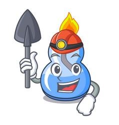 Miner alcohol burner mascot cartoon vector