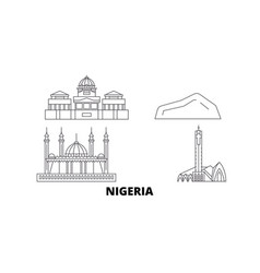 Nigeria line travel skyline set nigeria outline vector