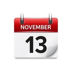 November 13 flat daily calendar icon vector
