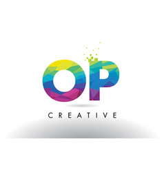 op o p colorful letter origami triangles design vector image