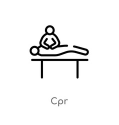 Outline cpr icon isolated black simple line vector