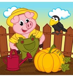 pig farmer vector image