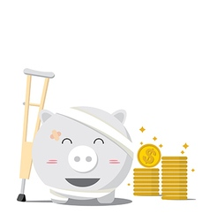 Piggy bank design of accident concepts vector image