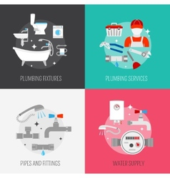Plumber icon composition set vector image vector image