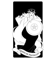 Queen pentacles with crown and long hair vector