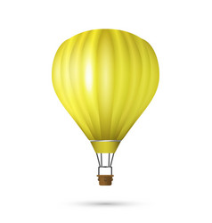 Realistic hot air balloon yellow color vector