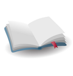 realistic open empty blue book icon with red vector image