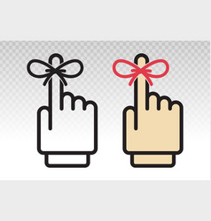 Reminder hand with tied ribbon to finger - flat vector