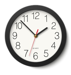 Round wall clock without divisions in black body vector