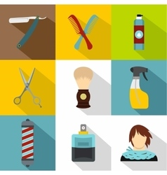 Salon icons set flat style vector image