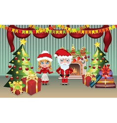 Santa and Mrs Claus in the House vector