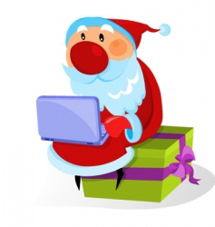 Santa with a bag and gifts vector