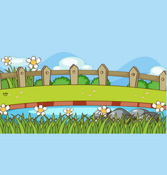 Scene with river and grass vector