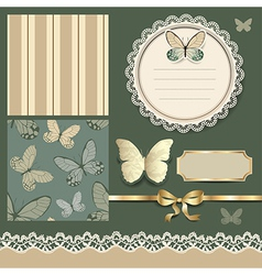 Scrap retro butterfly vector
