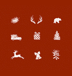 set christmas decorative icons red vector image